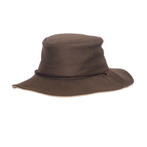 Rigon---UV-boonie-hat-for-men---Chocolate-brown-/-beige