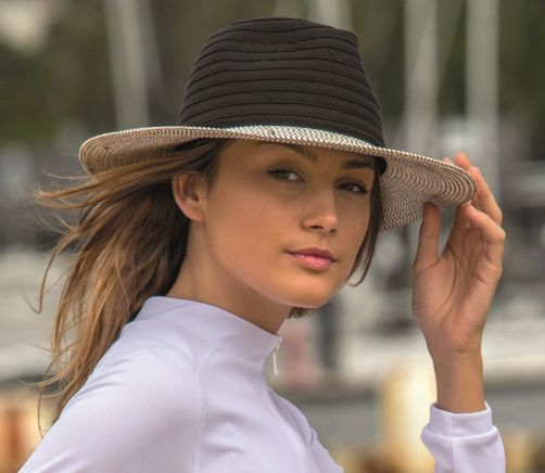 Rigon---UV-fedora-hat-for-women---Black-/-white