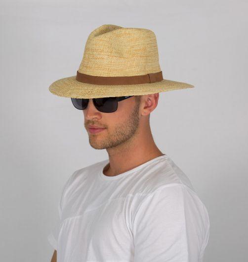 Rigon---UV-fedora-hat-for-men---Natural-/-chocolate-brown