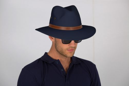 Rigon - UV fedora hat for men - Canvas - Navy blue - Front