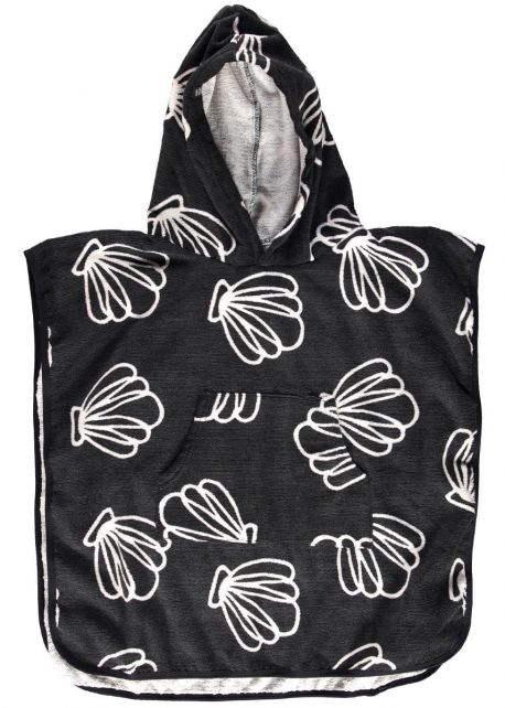 Beach & Bandits - Beach poncho for kids - Shell Island - Black - Front