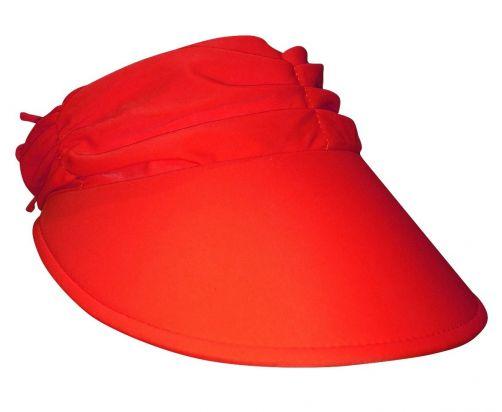 Rigon---Visor-for-women-with-pleated-fabric---Calypso--Red